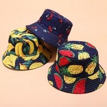 모자 2020 새로운 열 대 과일 인쇄 패턴 어 부 모자 여성 여름 야외 스포츠 그늘 모자 레저 분 지 모자 양면
