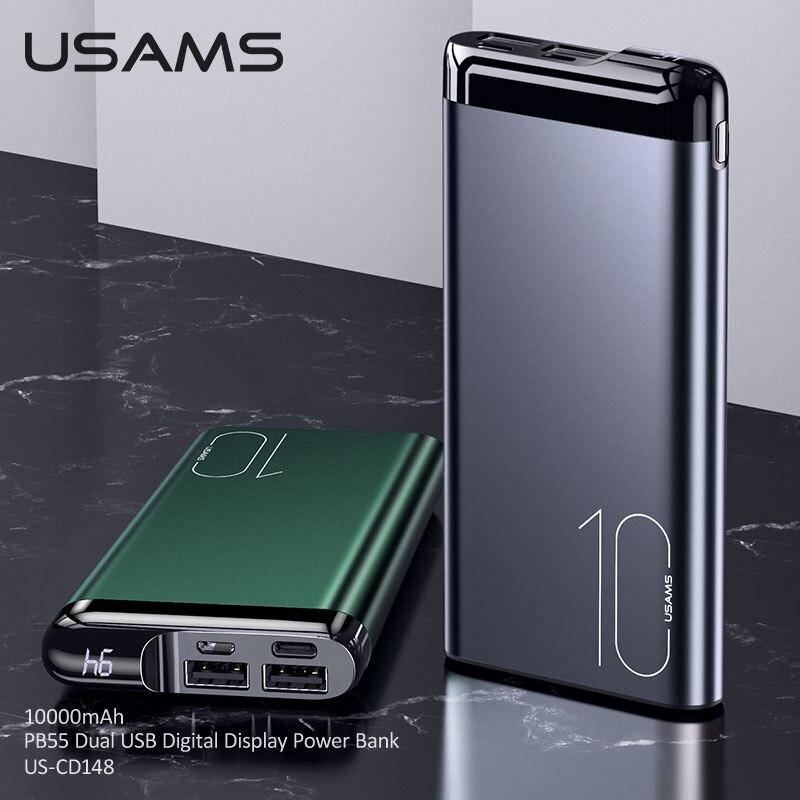 USAMS 10000mAh سبائك الألومنيوم المزدوج منافذ قوة البنك آيفون شاومي هواوي أقراص محمول نوع C مايكرو USB بطارية خارجية