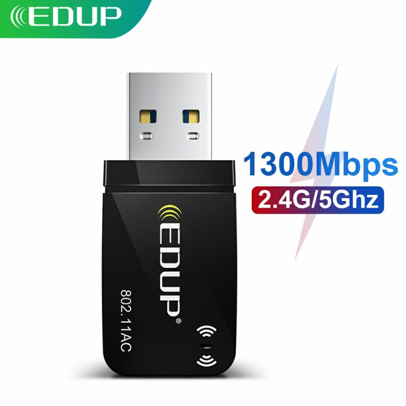 EDUP 1300Mbps Mini USB3.0 Wifi Adapter Wifi Network Card Dual Band 5.8G/2.4GHz Wireless AC USB Adapter for PC Desktop Laptop