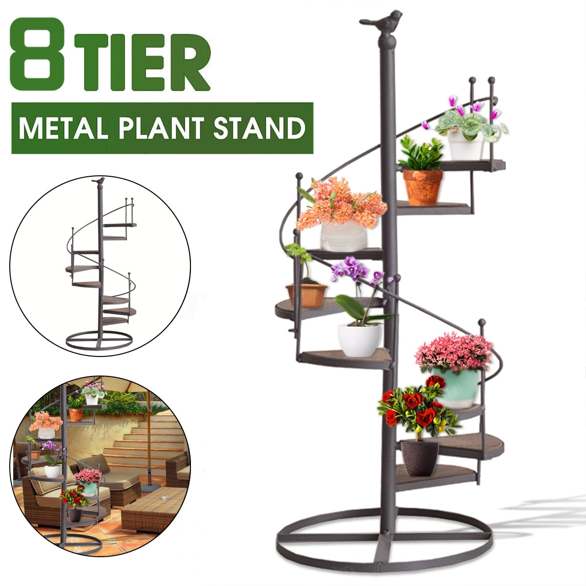 8 Layer Plant Shelve Decorative Iron Plant Rack Stand Plants Succulent Shelf Stair Shape Desktop Patio Garden Flower Stand