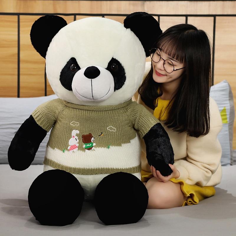 ¡Oferta! Bonito suéter grande gigante para bebé oso Panda peluche Animal relleno muñeca animales juguete almohada dibujos animados muñecas Kawaii niñas amantes regalos
