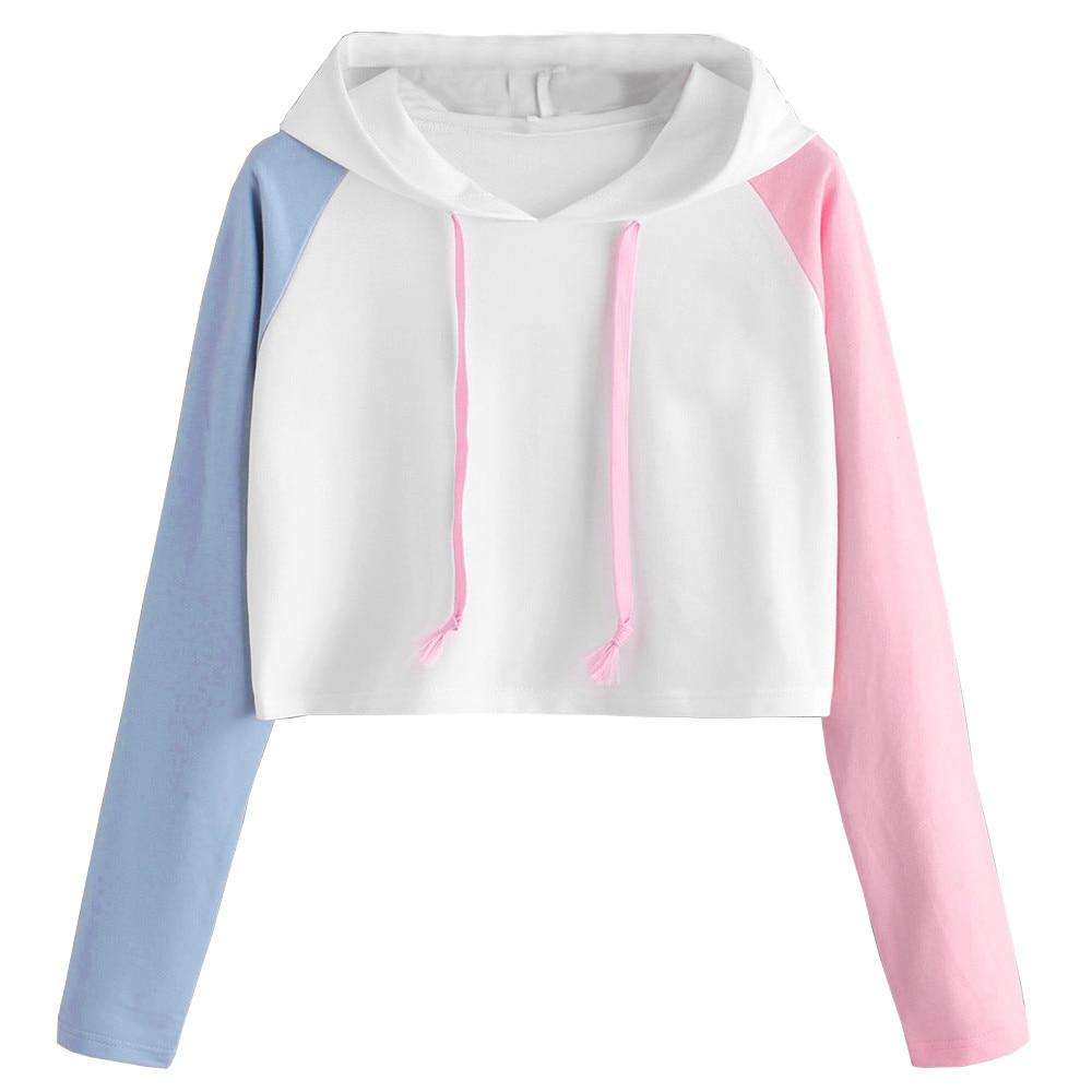 Women Heart Print Patchwork Long Sleeve Sweatshirt Elegant Chic V-Neck Fashion Casual Crop Jumper Pu