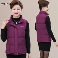 new women autumn and winter thickened vest filling cotton solid color sleeveless jacket
