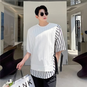 Summer 2021 New Fashion Personality Design Fake Two-piece Side Buckle Raglan Sleeve Short Sleeve T-shirt Loose Casual Tops