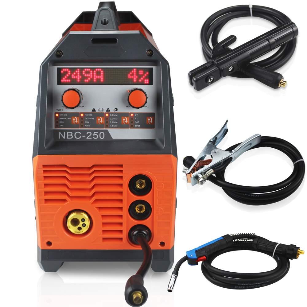 NBC-250 220 فولت ميغ MMA ماكينة لحام بغاز التنجستين الخامل LCD متعددة الوظائف مناسبة للغاز المختلط ألمجم ألسيس غاز ميغ الشعلة محمية لحام