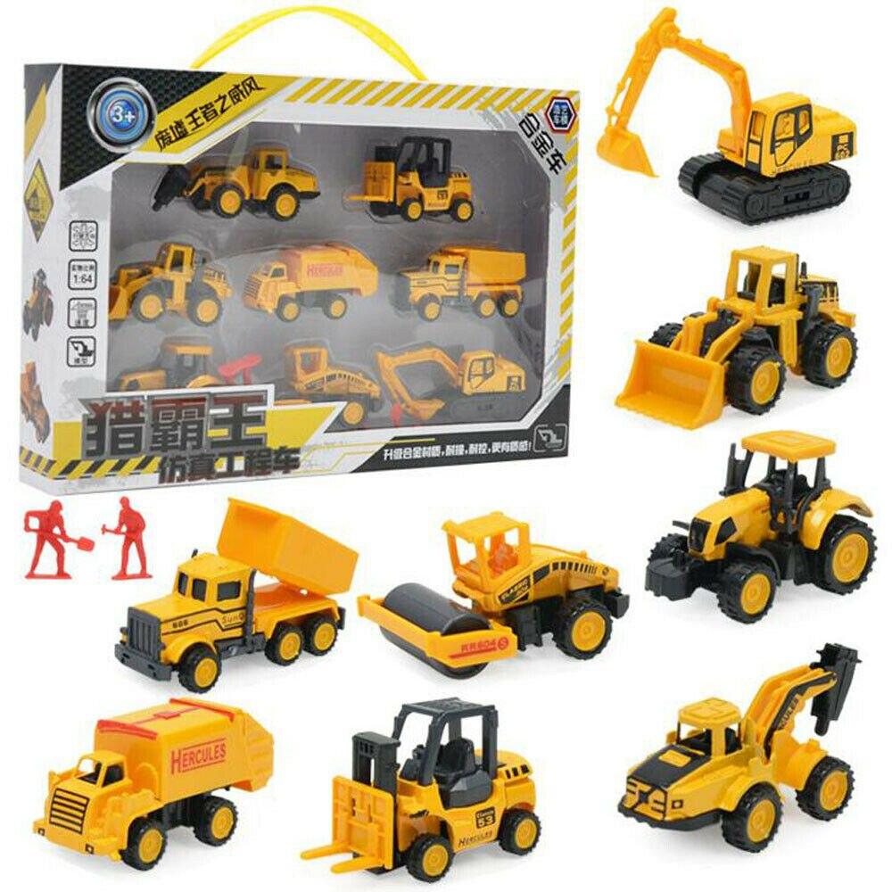 8pcs/set Diecast Mini Alloy Car Construction Vehicle Engineering Alloy Truck Model Classic Toy Mini Gift for Boy недорого