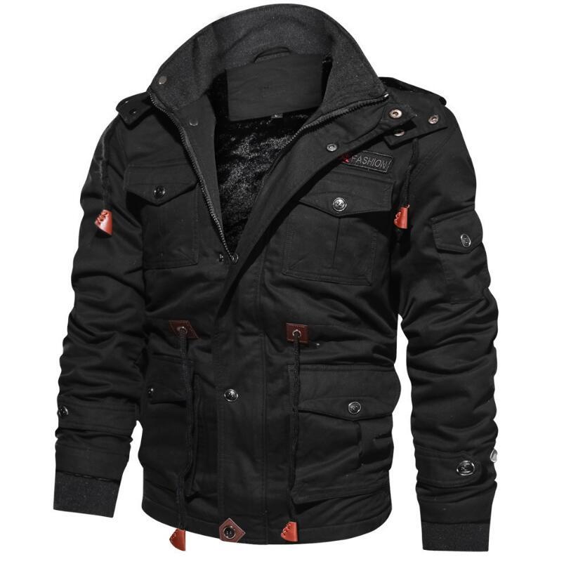 Мужская зимняя новая куртка, Флисовая теплая куртка с капюшоном, плотная модная крутая куртка в стиле милитари, теплое пальто, новинка