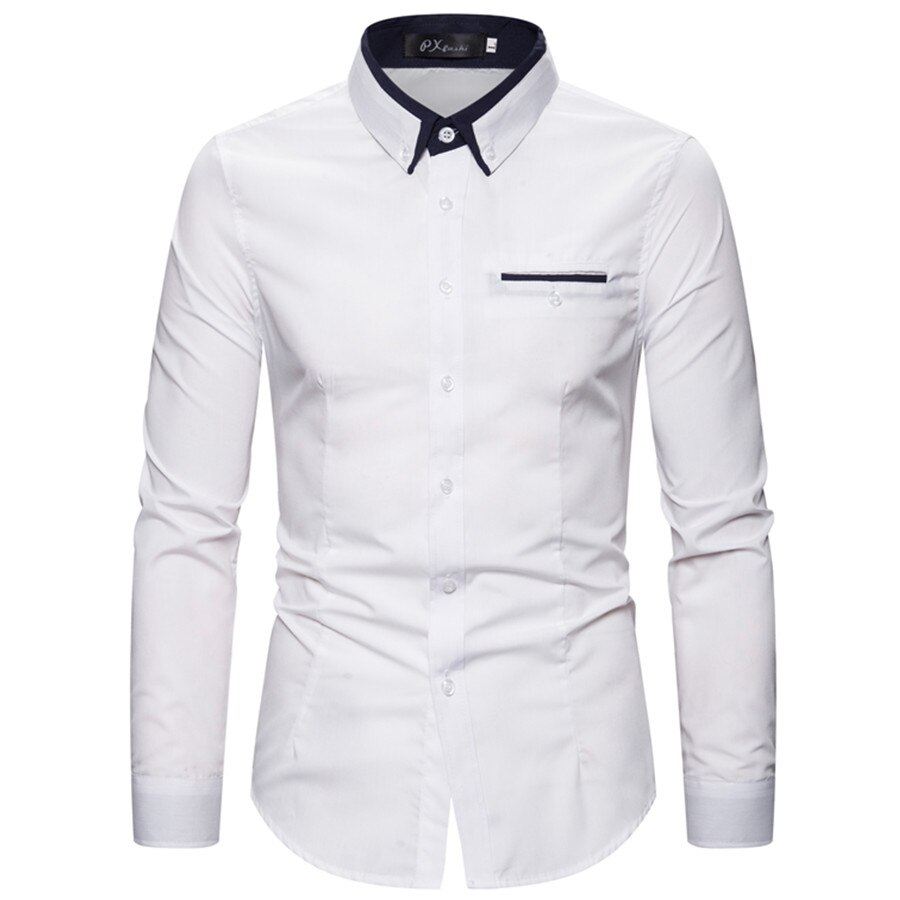 2020 fashion pocket casual shirt for men plus size 5xl long sleeve dress business male
