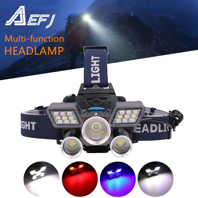 Faro LED L2 + T6 multifunción de 9 modos con luz roja, azul, blanca, recargable vía USB y luz de advertencia trasera