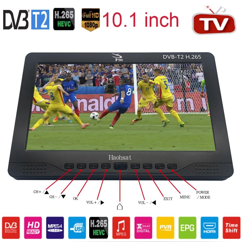 10 بوصة تلفزيون محمول DVB-T2 ATSC ISDB-T Tdt الرقمية والتناظرية سيارة صغيرة التلفزيون HD MP4 H.265 AC3 المحادثة TvBox الرقمية