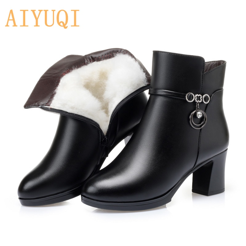 AIYUQI Women's Ankle Boots Winter 2021 New High-heel Ladies Fashion Boots Large Size Wool Warm Women