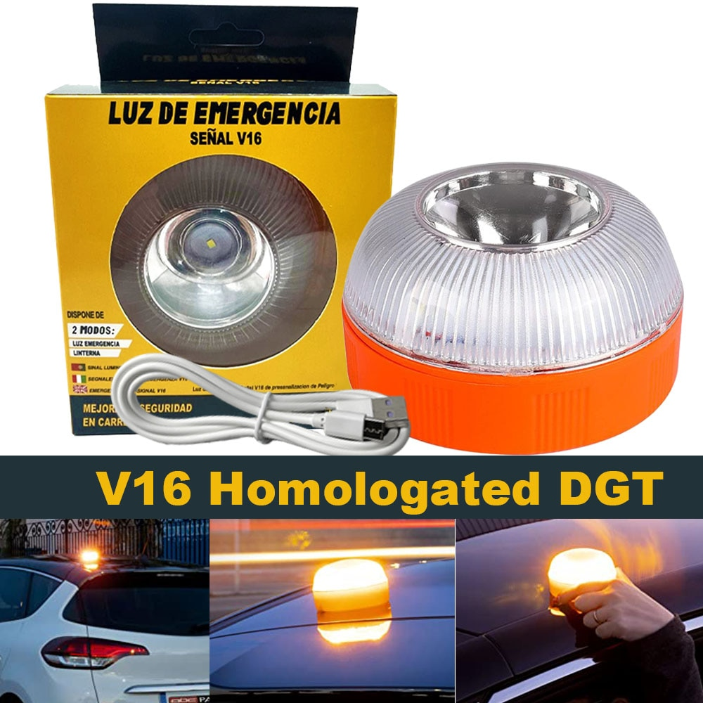 1 шт., Автомобильный аварийный свет V16, одобрен dgt V16, официально Сертифицированный dgt, Мигающий Магнитный индукционный стробоскоп