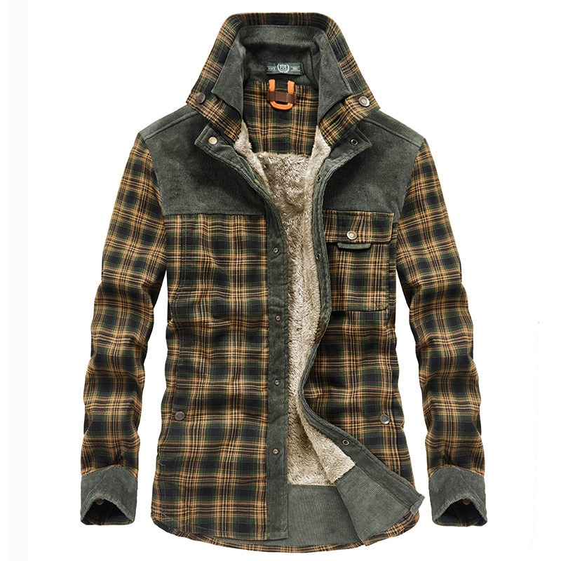 Men 's Clothes Middle-Aged Men 's Thickened Thermal Fleece Cotton Plaid Long-Sleeved Coat for Winter 2020