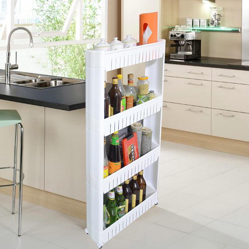 3/4 Layer Holder Kitchen Storage Rack Fridge Side Shelf Removable With Wheels Bathroom Kitchen Organizer Space Saving Shelf