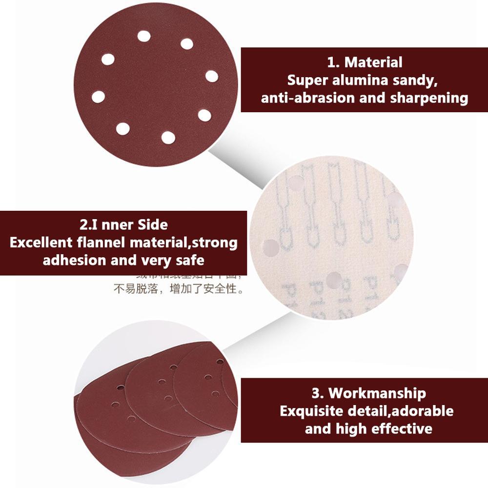 50/100 Uds 125mm discos de lijado de forma redonda papel de lija - Herramientas abrasivas - foto 5