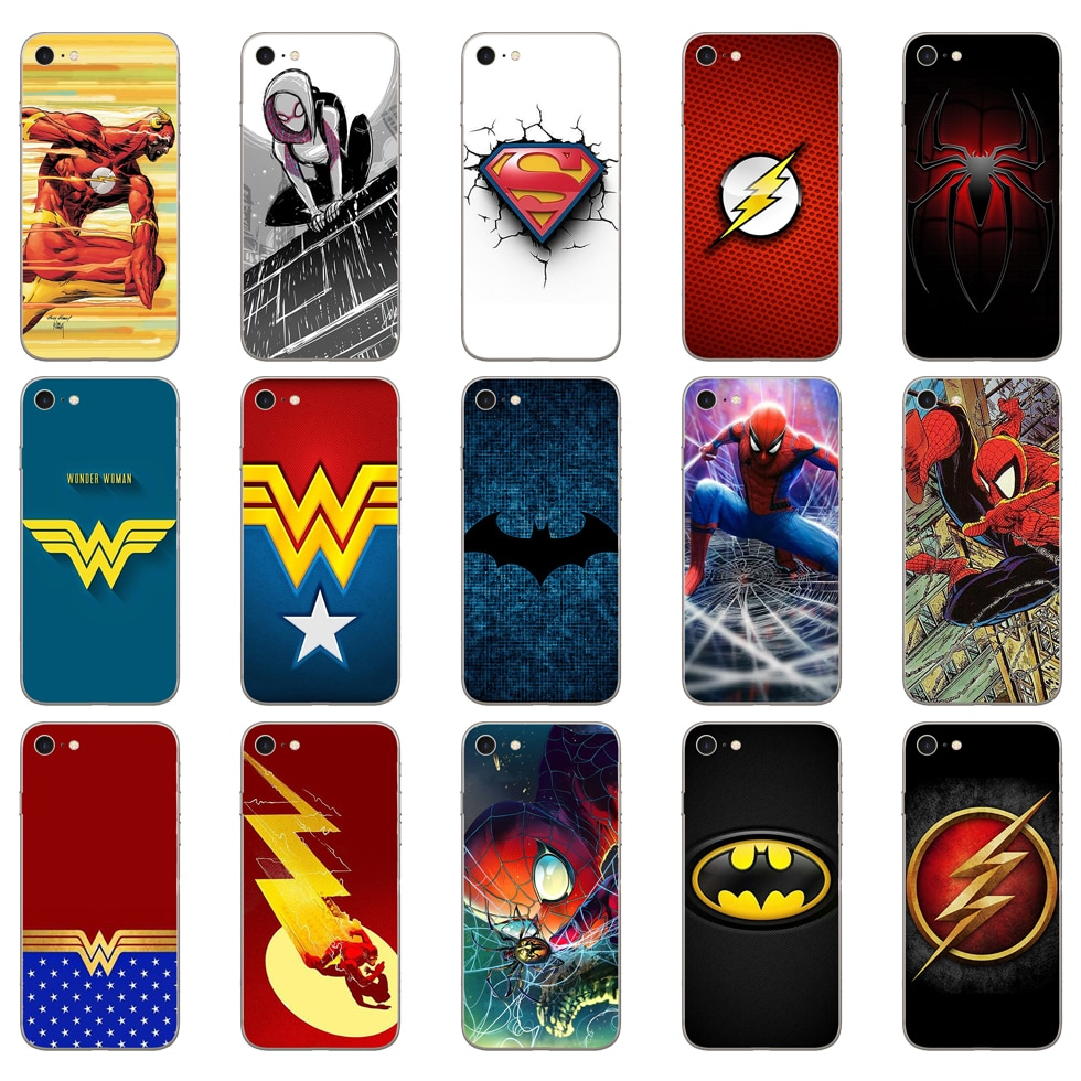 20DD Бэтмен Супермен флэш чудо женщина человек паук Мягкий силиконовый чехол для iphone 5 5s se 6 6s 8 plus 7 7 Plus X XS SR MAX