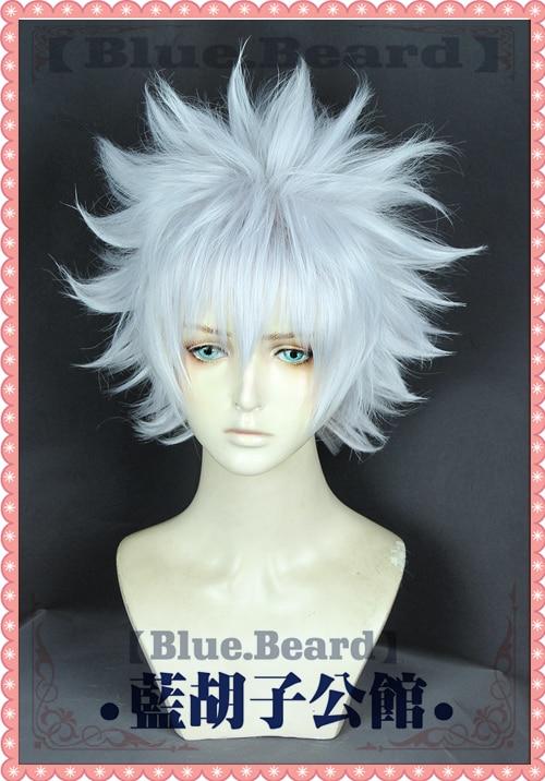Anime Hunter X Hunter Killua Zoldyck Cosplay Wig Short Silver White Shaggy Layered Heat Resistant Sy