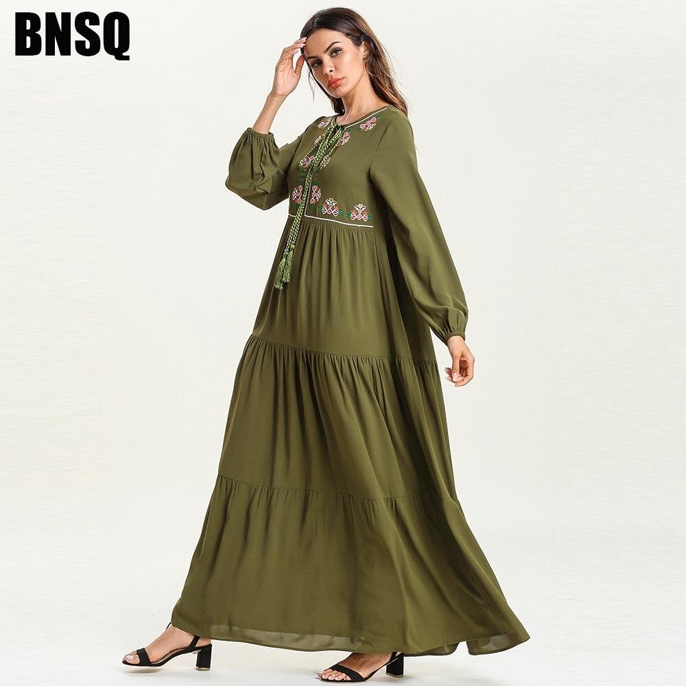 BNSQ Arabian de gran tamaño mujeres musulmán vestido Casual ejército verde bordado largo arco rezar Kaftan paquistaní Ramadan ropa Turquía