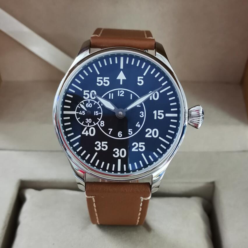 GEERVO No logo pilot Dial Black 44mm Manual mechanical men's Watch ST3600-2 movement 9 o'clock secon