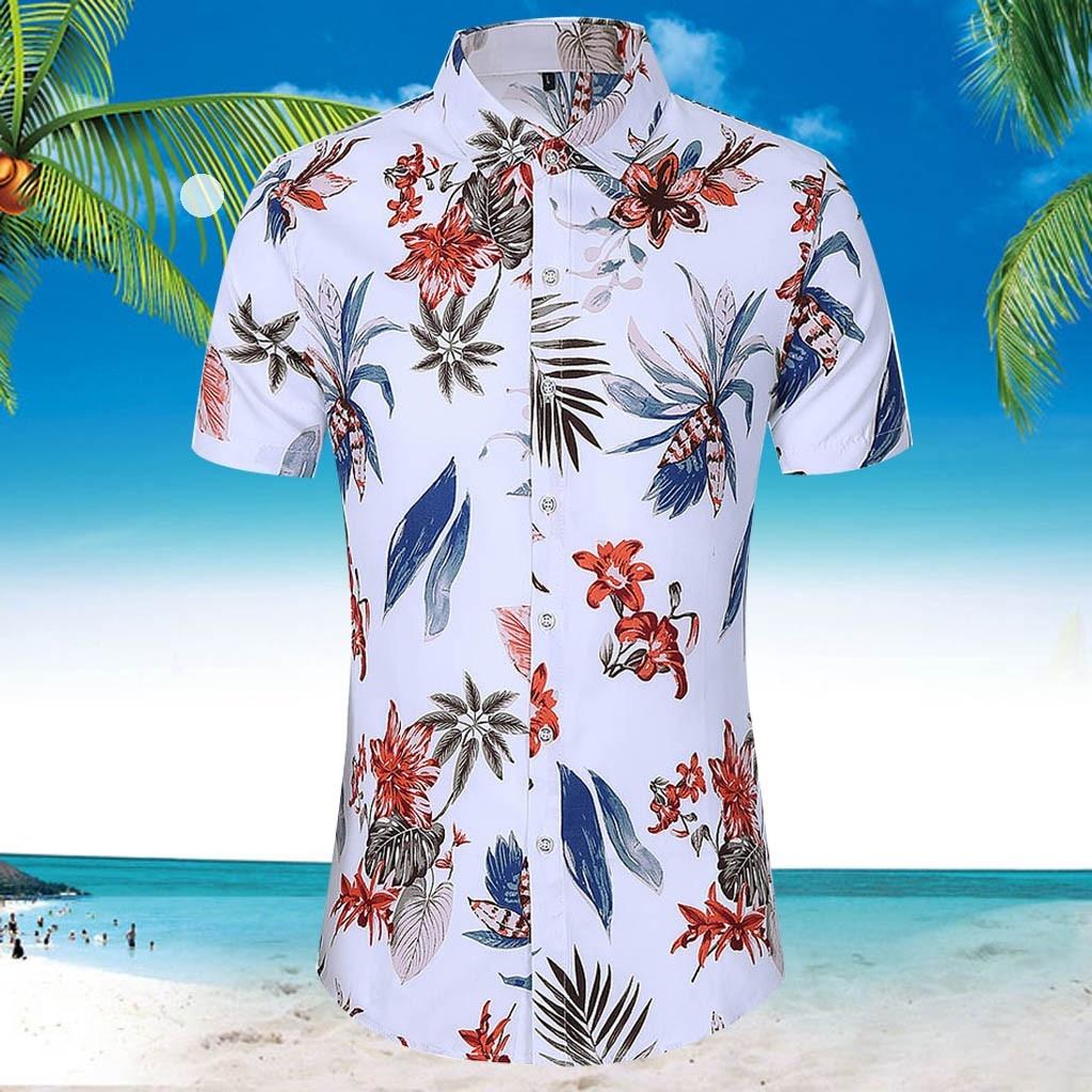 Feitong Hawaian camisa de hombre delgada suelta de manga corta impresa camisa blanca Turn-down Collar Beach Holiday Slim Fit Tops de hombre