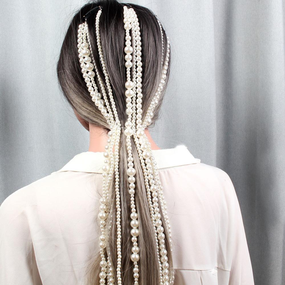 Fashion Pearl Hair Extension Long Chain Hip Hop Hair Clip Decoration Bar Party Makeup Wedding Bridal Hair Accessories Jewelry