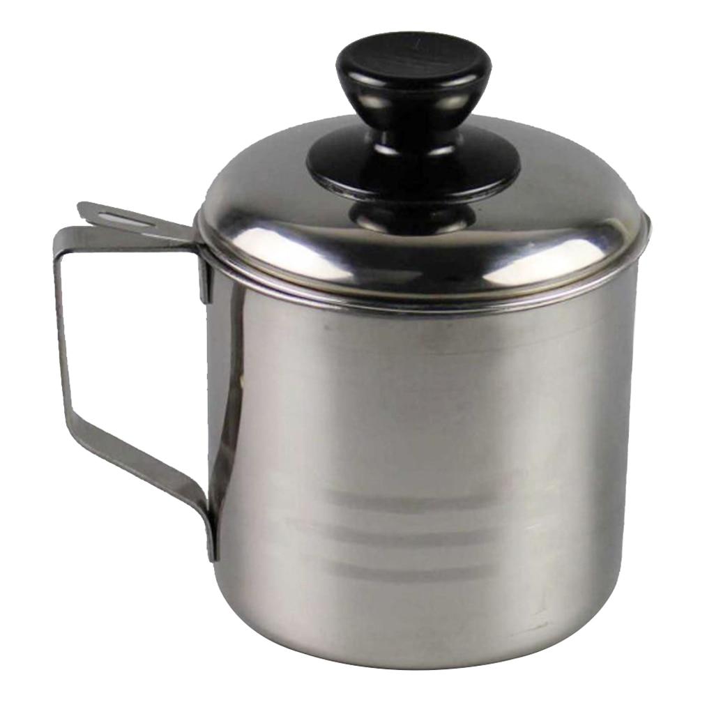 Taza de colador para recipientes de aceite inoxidable con filtro de malla para el hogar