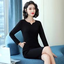 Business Wear Goddess Temperament Long-Sleeved Dress Autumn Wear Office Worker Jewelry Shop Workwear