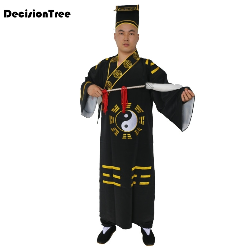 2019 manteau tang costume tai taoïste robes wing chun kung fu arts martiaux uniformes chinois style costumes vêtements noir jaune