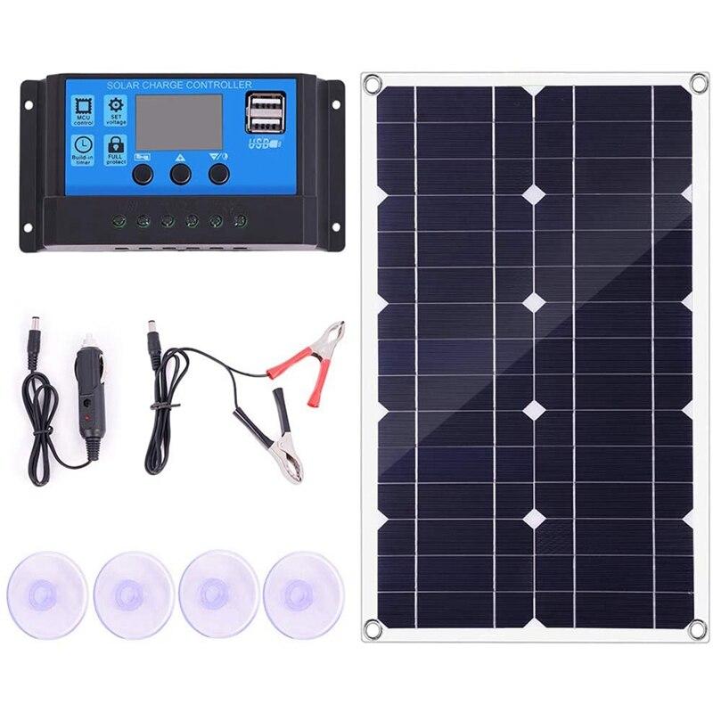 تعزيز! 100 واط مجموعة اللوحة الشمسية 12 فولت شاحن بطارية تحكم ل قافلة و قارب و المزدوج USB الألواح الشمسية 10A جهاز تحكم يعمل بالطاقة الشمسية