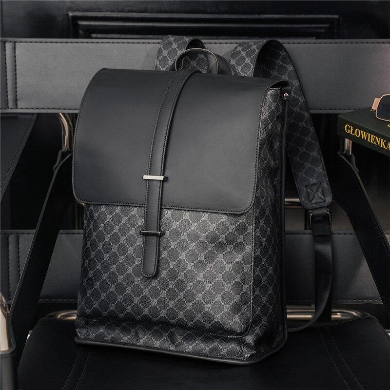 2021 نمط جديد أسود منقوشة حقيبة الظهر الفاخرة مصمم الرجال سعة كبيرة حقيبة السفر حقيبة مدرسية الطالب العصرية