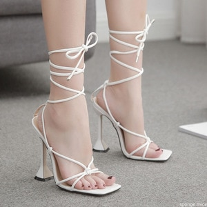 New women shoes gladiator sandals sexy high heels sandals summer party dress shoes cross strap lace-up pumps big size 41