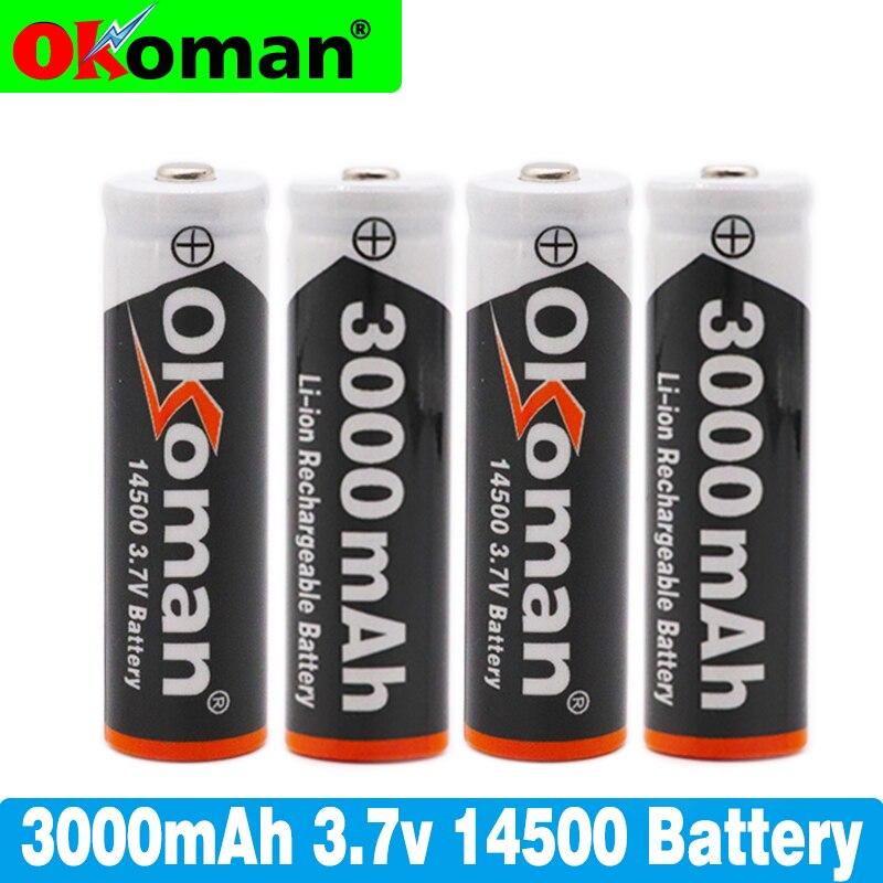 Bateria 14500 v 3.7 mah recarregável, bateria de íon-lítio para led de bateria acumuladora