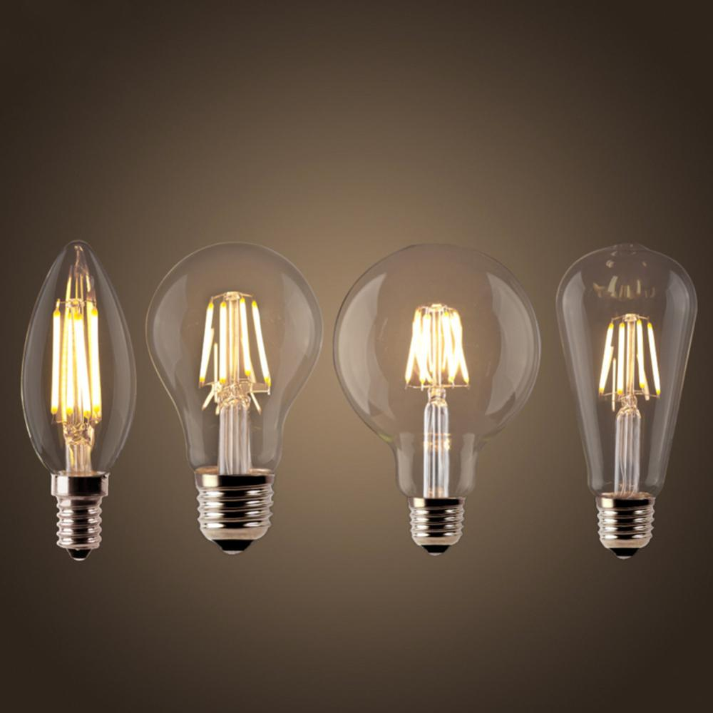 LED Filament Bulb E27 Retro Edison Lamp 220V E14 Vintage C35 Candle Light Dimmable G95 Globe Ampoule