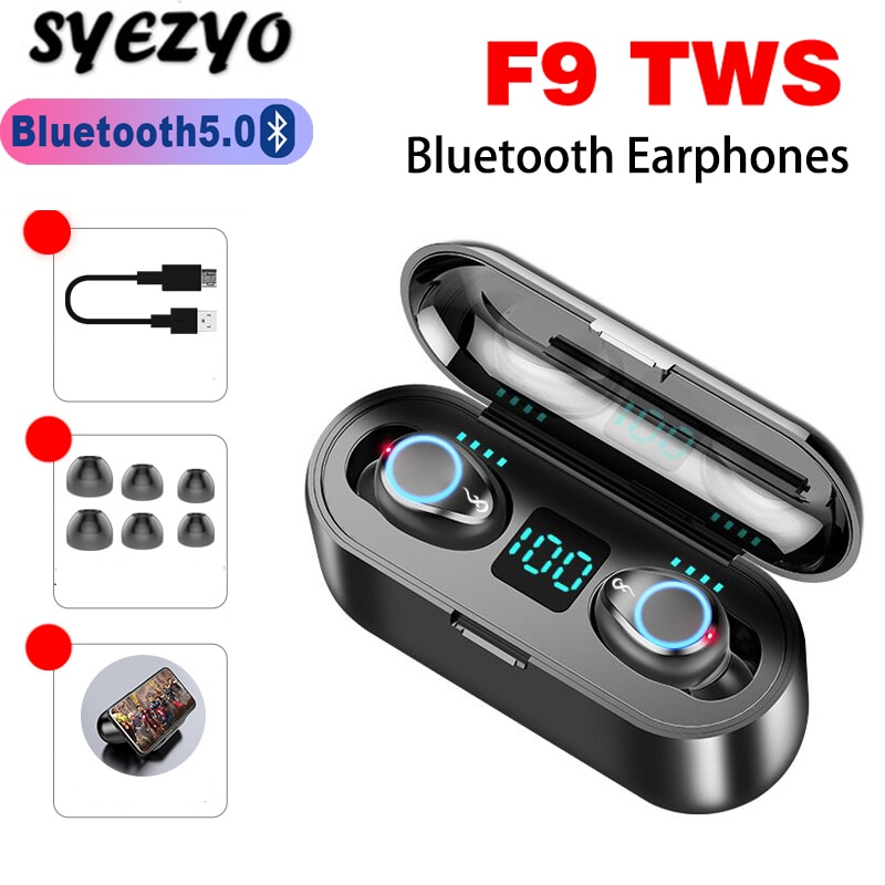 F9 tws sem fio bluetooth fone de ouvido display led com caixa de carregamento controle toque mini negócios fones funciona em todos os smartphones