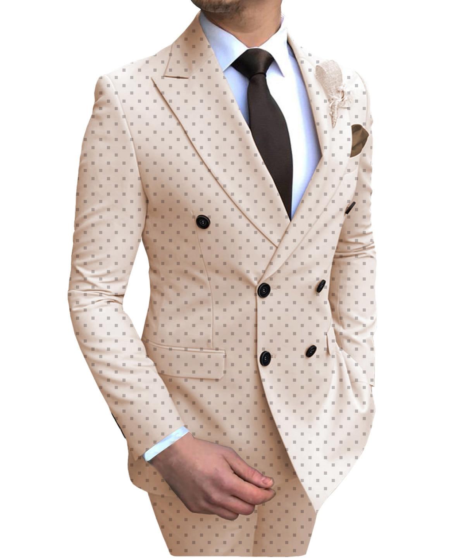 Мужской деловой костюм пуака в горошек из 2 предметов двубортный Стандартный крой с вырезом на лацканах смокинг для выпускного вечера на св...