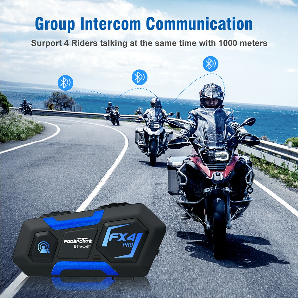 Fodsports FX4 Pro Motorcycle intercom 4 Riders 1000m Wireless Helmet Bluetooth Headset intercomunicador moto блютуз гарнитура FM
