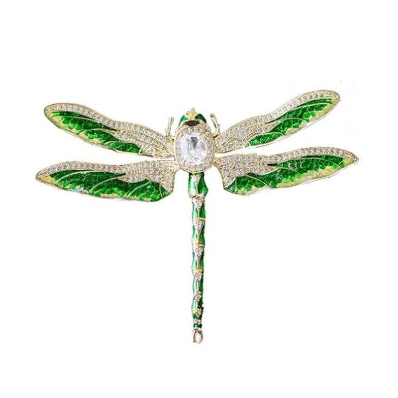 Broche de libélula con diamantes de imitación de circonio Vintage, alfileres de cristal de lujo, broches de insectos para mujeres, joyería, Pin de solapa, traje de hombre