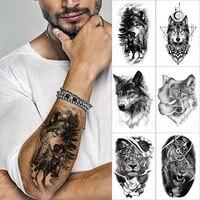 forest shadow wolf temporary tattoo sticker for men women owl lion waterproof fake henna tiger animal body art tatoo decal