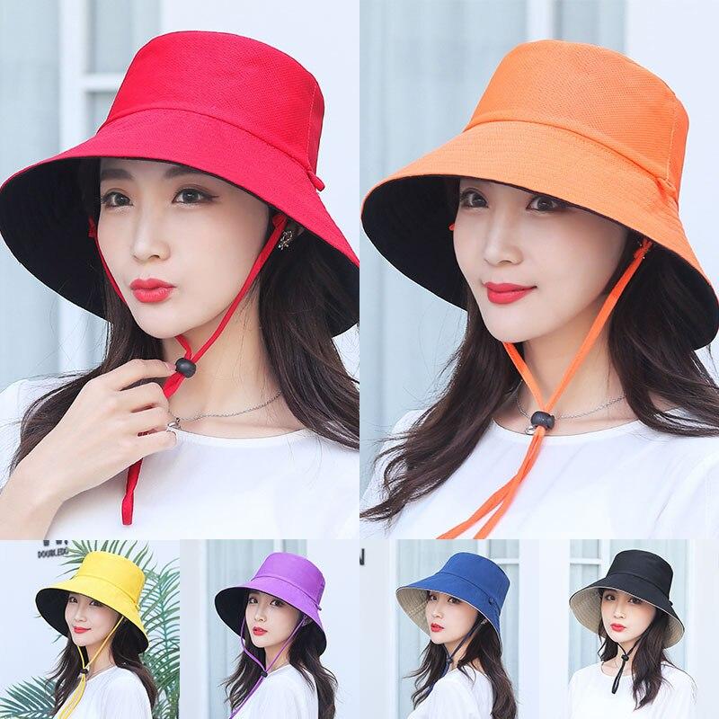 Cotton wide brim Sunshade Hat Women Summer Sun Hats Foldable Beach UV Potection Fashion Patchwork Bucket Cap Fisherman Caps