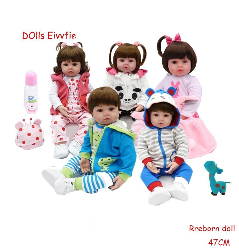 19 inch soft silicone reborn bebe doll boncas realistic toy girl reborn baby dolls Christmas birthday gift toy
