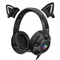 k9 black demon version cat ear cool girl gaming headphones with mic rgb gaming headset stereo music earbud phone earphone gift