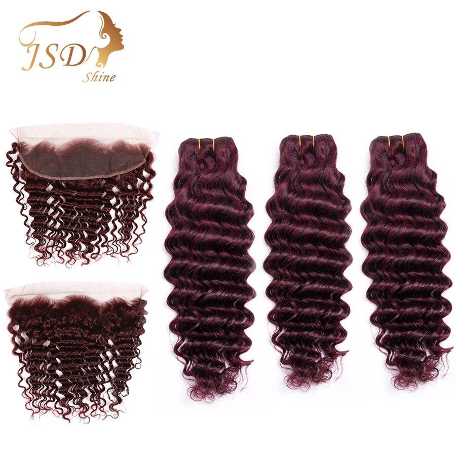 Mechones de ondas profundas brasileñas JSDShine con extensiones de cabello humano Frontal 99j con cierre de encaje granate Frontal no Remy con mechones
