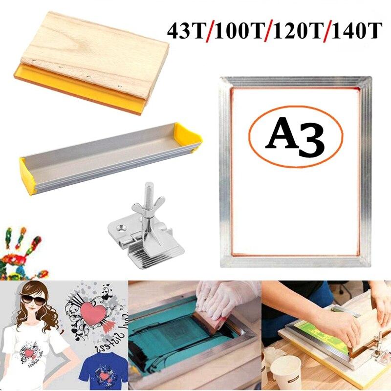 4 pièces/ensemble A3 Kit de sérigraphie cadre en aluminium + pince à charnière + enduit démulsion + raclette sérigraphie ensemble doutils