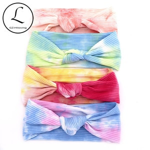 Colorful tie dye women ribbed cotton headbands Hairbands Soft Rainbow Knot Bow Headwear Turban For Ladies Girls Dropshipping
