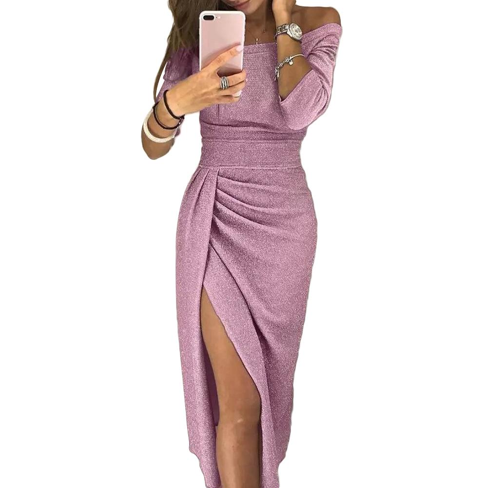 Women Elegant Long Sleeve Off Shoulder High Slit Ruched Glitter Maxi Party Dress