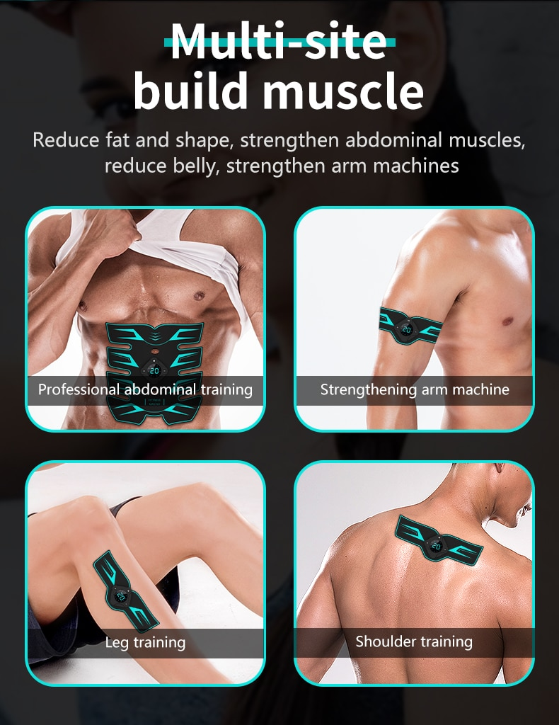 Eletroestimulador muscular ems abs electrostimulator abdominal massageador