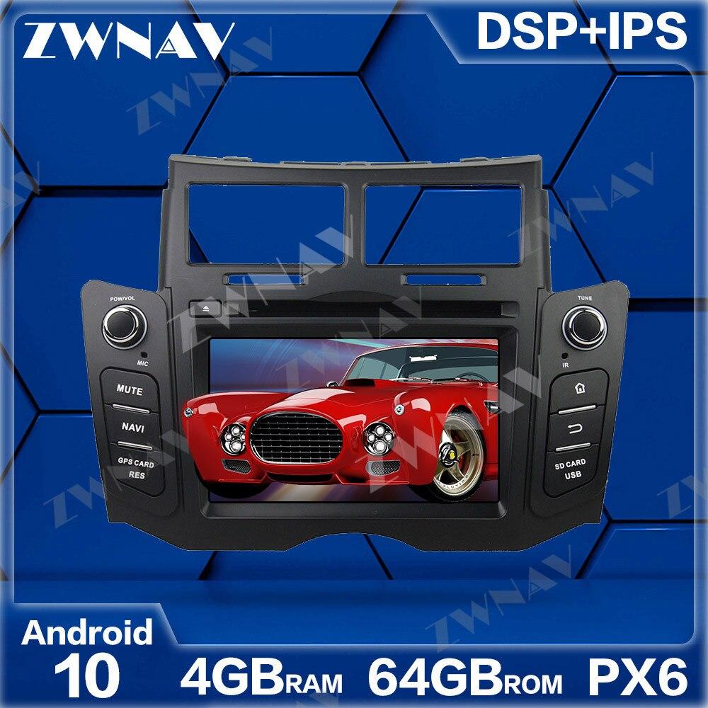PX6 4GB + 64GB 안드로이드 10.0 차량용 멀티미디어 플레이어, Toyota Yaris 2005-2011 GPS Navi Radio navi 스테레오 IPS 터치 스크린 헤드 유닛