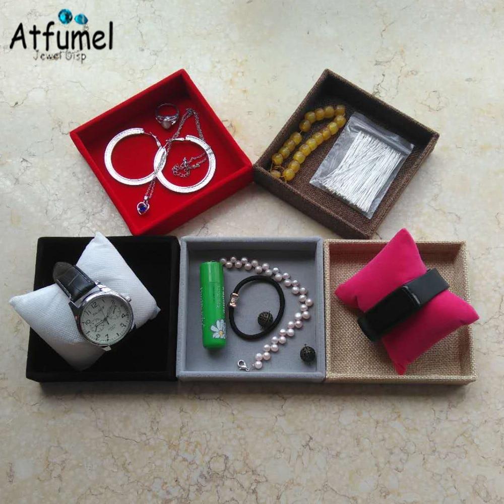 Anillo de terciopelo de pantalla organizador funda, soporte bandeja de brazalete, collar, pendientes, caja de almacenamiento de escritorio de Joyero escaparate