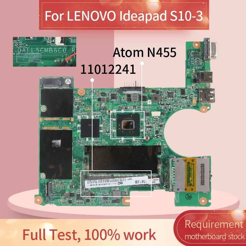 11012241 placa-mãe do portátil para lenovo ideapad S10-3 n455 notebook mainboard dafl5cmb6c0 slbx9 ddr3