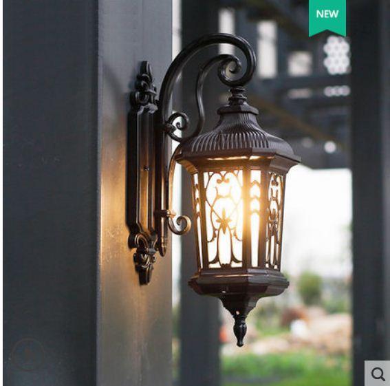 Wall lamp outdoor waterproof led villa European retro lamp outdoor courtyard door balcony wall terrace corridor light
